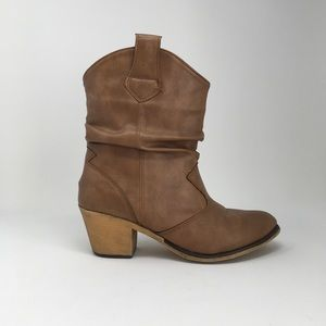 Shoes - Short Tan Boots Size 7.5